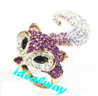 Size Optional Nobel Gold Plated Colorful Rhinestone Fox Ring For Lovely Girls