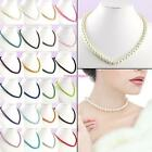 Faux Glass Pearl Necklace Elegant Bridal Bridesmaid Wedding Prom Necklace 8mm