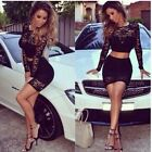 2014 Fashion Womens Lace Bodycon Crop Top Skirt Party Bandage Mini Dress Black-S