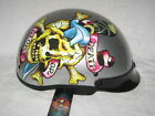 NEW ED HARDY SHORTY ( 1/2 HELMET ) DEATH OR GLORY MOTORCYCLE /SCOOTER HELMET