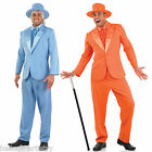 Adult Men's Blue OR Orange Disco Fancy Dress Tuxedo Suit Stag Party Costume