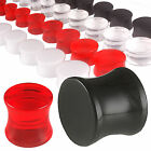 Pair tunnel saddle double flare ear gauge acrylic plug stretched stretching 9CNY