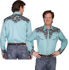 P-634ds Scully Western Cowboy Gunfighter Turquoise Embroidered Snap Shirt Retro
