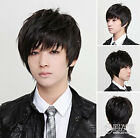 Cool2day Men Handsom Short Layered New Fashion Mens Black Full wigs+Caps New