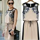Fashion Womens Sleeveless Printed Chiffon Dress Floral Casual Tunic Mini Dress