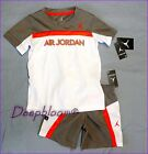 NIKE JORDAN OUTFIT SET SHIRT SHORT PANTS BASKETBALL BOYS 4 5 6 7 ORANGE GREY NEW