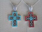 """Southwestern Sterling Silver Cross Pendant Necklace Turquoise / Coral & Turq 18"""""""