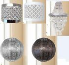 MODERN LIGHT SHADE CHANDELIER LIGHT FITTING SILVER WHITE BRONZE SHADES