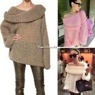 Women Long Sleeve Off Shoulder Chunky Cable Knit Sweater Tops Jumper Pullover