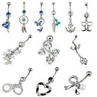 Steel Dangle Crystal Navel Belly Button Bar Ring Body Piercing Jewelry Crystal