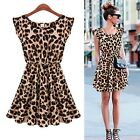New Womens Ladies Print Flared Mini Sleeveless Party Swing skater dress Top