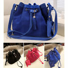 Women Drawstring Faux Suede Tassel Shoulder Messenger Handbag Bucket Bag Nice