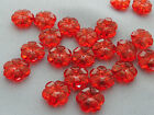 10mm 60/100/../500pcs CLEAR DARK RED ACRYLIC LUCITE FLOWER BEADS TY05573