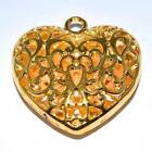 Gold Plated Puffed Filigree Heart Pendant - 35mm or 50mm