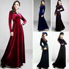 Women Sexy Long Sleeve Full Length V-Neck Dress Gold Velvet Skirt Evening Dress