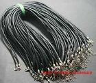 18'' Lots 25 pcsRope Black Real Leather Necklace Findings Jewelry , 3.0mm