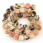 10mm Carved gemstone rhodonite flower loose beads 39pcs wholesale mix No.59697