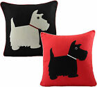Scottie Dog Embroidered Cushion Cover 43cm x 43cm Black & Red