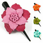 """Handmade"" Leather Flower Hair Clip Barrette Bow Amaryllis Choose Color bga5"