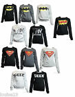 F40 LADIES RETRO NERD GEEK PRINT TOP SWEATSHIRT WOMENS LONG SLEEVE TOP GYM WEAR