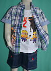 NEW Boys Despicable Me 2 3pcs Cotton summer set Size 1,2,3,4,5,6,8
