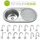 Stainless Steel Single & 1.5 Bowl Kitchen Sinks Drainer & Waste Choice of Tap