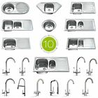 Stainless Steel Kitchen Sinks, Drainer & Waste, Choice of Tap. Single & 1.5 Bowl