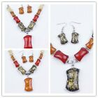 New A Set Silver Plated Amber Gem Necklace Earring