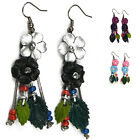 """Handmade"" Leather Flower Rhodium Drop/Dangle Hook Earrings Anemone eia7"