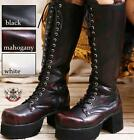 19 Hole Gothic Punk Military Laceup Knee High Chunky Heel Platform Maroon Boots