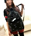 Fashion Canvas Mustache Glasses Backpack Rucksack Shoulder Bag Campus School Bag
