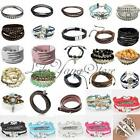Vintage Color Style Bangle Pendant Chain Jewelry Wrap Leather Charm Bracelet HOT
