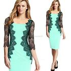 Women Pencil 3/4 Sleeve Lace Dress Wear To Work Fitted OL Lady Business B20E