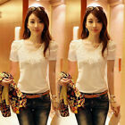 Women Lady Blouse Slim Lace Long Sleeves Shirt Tops Clothing Plus Size S-3XL