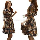 Women Elegant Retro Long Sleeve Floral Printed Slim Evening Party Cocktail Dress