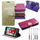 Wallet Phone Case For LG Optimus L70 Glitter Cover Stand Stylus