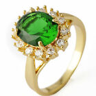 Beautiful Clear CZ& /Emerald Ring Yellow Gold -F for Womens  SZ 6-9# A3029-A3032