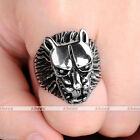 Men's Punk Silver Tone Stainless Steel Wild Wolf Head Biker Band Ring Cool Gift