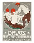 "WALTER KOCH ""Davos"" SWISS ALPS bobsleigh FINE CANVAS PRINT of vintage poster"