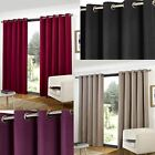 RING TOP FULLY LINED READY MADE CURTAINS EYELET PAIR BLACK TAUPE WINE PLUM