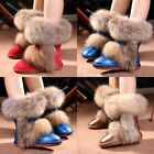 Luxury Womens Genuine Leather Fox Fur Trim Mid Calf Winter Warm Snow Boots Shoes