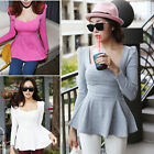 Korean Womens Crew Neck Joker Shirt Peplum Long Sleeve T-shirt Blouse Slim Tops