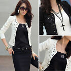 Hot Women OL Long Sleeve Rivets Slim Fit Short Suit Blazer Coat Jacket Outwear