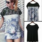 Chic Floral Lace Patchwork Lady Face Short Sleeve Women Graphic Shirt Blouse Top