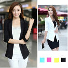 Fashion Women Slim 3/4 Sleeve Short Suit Blazer One Button Outerwear Coat Jacket