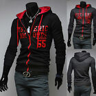 POP CHIC Korean Men's Fashion Slim Letter Printing Sweater Hoodie Coat Overcoat