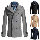 Modern Men Black Slim Fit Popular Double Breasted Peacoat Coat Jackets Amazing