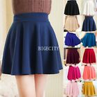 New Vintage Ladies High Waist Elastic Skater Mini Retro Skirt Flared Pleated
