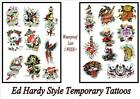 ED HARDY Rockabilly old school navy LG TEMPORARY TATTOO last 1 week+ waterproof