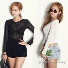 Sexy Women Striped Sheer Lace Solid Slim Club Crop Top Blouse T-Shirt Pullover S